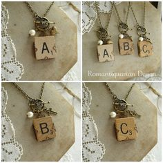 Vintage SCRABBLE Tile Necklace. Letter E by RomantiquarianDesign, $24.50