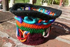 Halloween decor Yarn Coiled Basket Funky Colorful by zisthewiz, $45.00