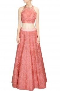 Monotone embroidered coral crop top with high waisted lehenga