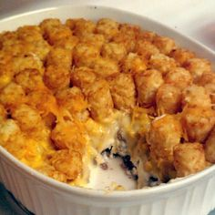 "Tater Tot Casserole! 4.59 stars, 84 reviews. ""This was superb!! I didn't have shredded cheese so used Ragu cheese sauce. Was craving a veggie so also added a can of corn over cheese layer :) All ingredients came together so well!"""