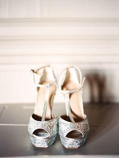 Silver wedding heels