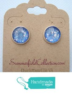 "Silver-Tone Ice Blue and White Glitter Glass Stud Earrings 1/2"" Round from Summerfield Collection http://www.amazon.com/dp/B01BJYY786/ref=hnd_sw_r_pi_dp_WTtVwb0S8RT61 #handmadeatamazon"