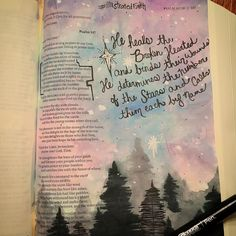 "The beginning of something beautiful. 💕 My very first journal bible. ""He heals the broken hearted and binds their wounds. He determines the number of the stars and call them each by name. Scripture Art, Bible Art, Bible Quotes, Hymn Art, Scripture Journal, Bible Drawing, Bible Doodling, Faith Bible, My Bible"