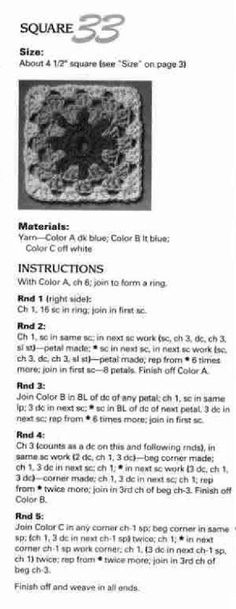 #ClippedOnIssuu from Crochet american school of needlework jean leinhausen 101 crochet squares