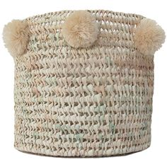Our Riad Baskets have been handwoven from natural palm leaf, creating a sturdy shape and lattice design. Finished with autumnal pom poms, these make for stylish storage! These baskets are great to use anywhere in your home, whether in the bathroom for towels, laundry in the bedroom, plant pots or simply tidying away the kids toys! - Handwoven - Ethical/eco friendly product - Handmade Pom Poms all around the edge- Approx Sizes*Large      H 35 x W 35 cm *Medium  H 25...