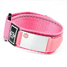 Neon Pink Medical Velcro Sport Strap with Engravable Stainless ID Tag Adjustable 5 1/2 - 7 1/2 Inches