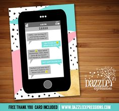 Printable Abstract Cell Phone Text Message Birthday Invitation | Gold, Pink and Mint | Modern iphone inspired invite | OMG | Tween Emoji Birthday Invitation | Teen Girl or Teenager Emoticon Party | Show Your Emojions | Smiley Faces | Emogional Invite | Cell Phone Text Invite | FREE thank you card included | Printable Matching Party Package Decorations Available! Banner | Signs | Labels | Favor Tags | Water Bottle Labels and more! www.dazzleexpressions.com