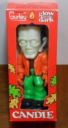 Vintage Gurley Frankenstein Candle ~ Halloween Glow In The Dark ~In Original Box