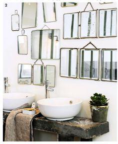 accumulation, miroirs, salle de bain