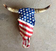 American Flag Cow Skull 2