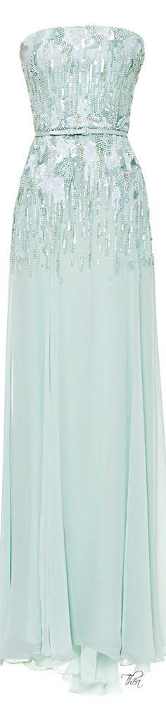 Elie Saab ● Resort 2015, Mint Strapless Embroidered Gown