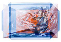 Obras futuristas   Mediante la mezcla de dibujos anatómicos, las formas geométricas y el juego de la transparencia, el artista italiano Vesod crea pinturas impresionantes y futuristas que dan la ilusión de ser en tres dimensiones.