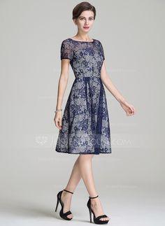 A-Line/Princess Scoop Neck Knee-Length Lace Mother of the Bride Dress (008072693) - JenJenHouse