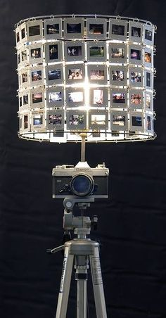 The base would look good with a white or black linen or burlap shade. This some functional art furniture that I made. It's a camera lamp with a slide lampshade. There are more for sale if anyone is interested. Art Furniture, Deco Cinema, Diy Luz, Diy Light Fixtures, Vintage Cameras, Home And Deco, Lamp Shades, Lights, Camera Decor