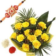 Rakhi With Yellow Flowers Bouquet