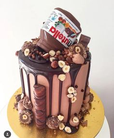 Elegant Photo of Nutella Birthday Cake . Nutella Birthday Cake Pin Paris On Sweets And Treats In Crazy Cakes, Fancy Cakes, Cute Cakes, Yummy Cakes, Sweet 16 Cakes, Pretty Cakes, Birthday Cake 30, Nutella Birthday Cake, Chocolate Birthday Cakes