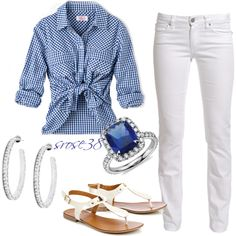 """""""Blue checkers"""" by srose38 on Polyvore"""