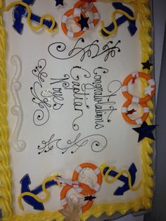 Navy retirement cake, whimsical