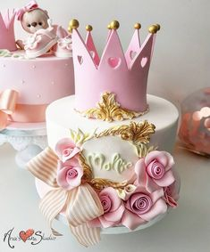 Girly Birthday Cakes, Baby Girl Birthday Cake, Elegant Birthday Cakes, Baby Girl Cakes, 1st Year Cake, Cute Cakes, Baby Shower Cakes, Themed Cakes, Cake Designs