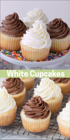 White Wedding Cupcakes This CLASSIC WHITE CUPCAKE recipe is AMAZING! This is our go-to white cupcake recipe because it's so moist and flavorful. Pair these cupcakes with vanilla or chocolate frosting. Vanille Cupcakes, Oreo Cupcakes, Mini Cupcakes, Cupcake Cakes, Blackberry Cupcakes, Lemon Cupcakes, Velvet Cupcakes, Birthday Cupcakes, Simple Cupcakes