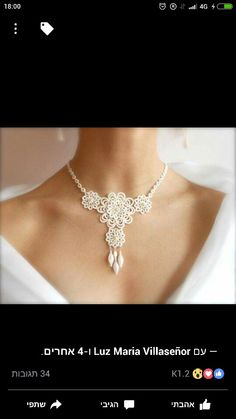 this could easily be done in crochet. Ivory tatted lace necklace wedding bridal floral by SILHUETTE Tatting Necklace, Tatting Jewelry, Lace Necklace, Lace Jewelry, Diy Jewelry, Handmade Jewelry, Jewelry Making, Bridal Necklace, Collar Necklace