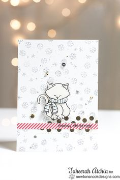 Meowy Christmas Kitty Card by Taheerah - Newton's Holiday Mischief stamp set - Newton's Nook Designs