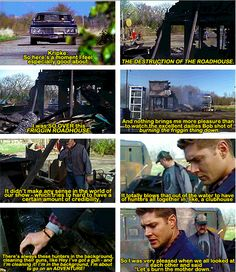 [SET OF GIFS] Eric Kripke commentary on All Hell Breaks Loose: Part One. Apparently, he really hated the Roadhouse *Erick Kripke is the American version of Steven Moffat. I feel so bad. Supernatural Season 3, Supernatural Facts, Harry Potter Part 2, Eric Kripke, American Version, Winchester Boys, Super Natural, Geek Out, Family Business