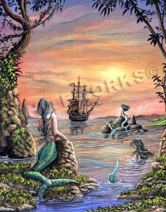 mermaid in water pirate ship in cove sunset by whiteworksart