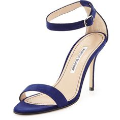 Manolo Blahnik Chaos Suede Ankle-Strap Sandal, Navy and other apparel, accessories and trends. Browse and shop 1 related looks.