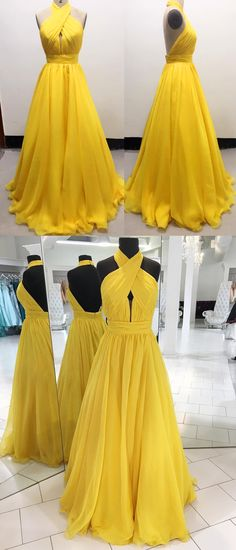 long prom dress, 2018 prom dress, yellow prom dress, halter yellow long prom dress with open back