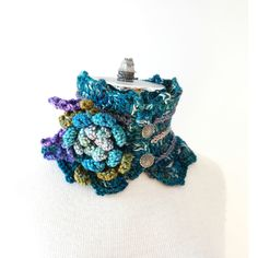 Floral Scarf in Teal blue, purple, gray, floral brooch accent, READY... ($43) ❤ liked on Polyvore featuring accessories, scarves, merino wool scarves, grey shawl, gray scarves, butterfly scarves and purple scarves