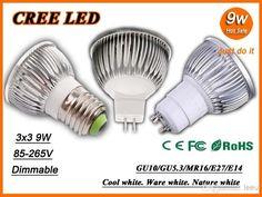 Wholesale Led Bulb - Buy DHL High Power CREE Led Lamp 9W Dimmable GU10 E27 E14 GU5.3 MR16 Led Spot Light Spotlight Led Bulb Downlight Lighti...