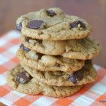 Flourless Almond Butter Chocolate Chip Cookies  Sub 1/4 c. Truvia for br. Sugar