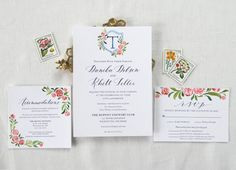These beautiful custom watercolor design invitations feature spot calligraphy that can be written in any of the styles offered in my shop and completely custom watercolor details and crest.  This listing includes one invite, rsvp and accommodation card design.  Finish off your invite with your guests mailing addresses written at 10% off Lets work together to create the perfect invite that captures your vision! Please message me with the following information to get started: 1. Theme/ key…