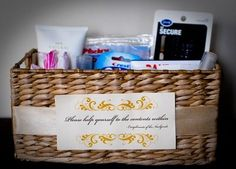 Basket of toiletries for guests. Previous pinner: We had a large gathering at our house with people in and out so I filled a basket and placed on the back of the toilet. I included a brush, comb,  hair ties, dental floss, an assortment of feminine hygiene products, mouth wash, hand sanitizer, nail file, air fresher, lint roller, band-aids