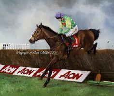 kauto star, newbury, horse racing art print by lisa miller