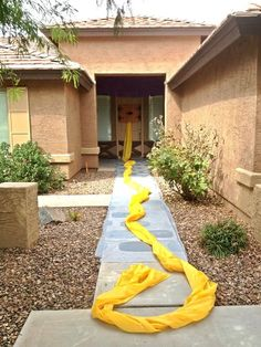 """Tangled Birthday Party - """"Climb on In"""" as entrance to party...yellow table cloth streaming from doorway"""