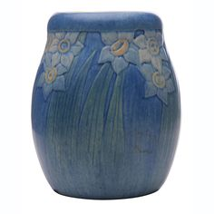 "Newcomb College, vase, no.GW80, New Orleans, LA, 1914, polycrhome glazed pottery, marked, artist initials AM, 4""dia x 4.5""h"