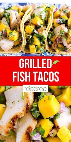 Grilled Halibut Recipes, Grilled Cod, Tilapia Recipes, Grilled Salmon, Grilled Mahi Mahi, Healthy Mexican Recipes, Halibut Fish Tacos, Grilled Fish Tacos, Dessert