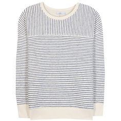 Closed Striped Cotton-Blend Sweatshirt ($155) ❤ liked on Polyvore featuring tops, hoodies, sweatshirts, neutrals, blue sweatshirt, stripe top, striped sweatshirt, cream top and blue striped top