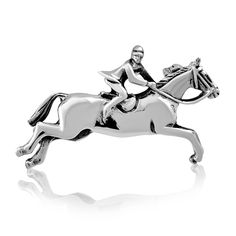 925 Sterling Silver Jumping Horse Horseshoe Equestrian Brooch Pin - CX11Z9EH3IB - Brooches & Pins  #jewellrix #Brooches #Pins #jewelry #fashionstyle