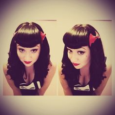 Vintage Hairstyles With Bangs Rockabilly hair - Old School Hairstyles, Rock Hairstyles, 1940s Hairstyles, Hairstyles With Bangs, Modern Hairstyles, Rockabilly Hair, Rockabilly Fashion, Pin Up Hair, Love Hair