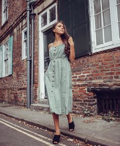 7119f975f93b27 Lois green button down dress from The Fashion Bible  green  khaki  button