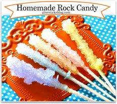 Homemade Rock Candy  A fun summer project for kids to do. Homemade Rock Candy is incredibly easy to make. Keep your crystal setup in a quiet, undisturbed location.