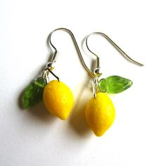 Lemon drop earrings - yellow fruit glass beads and green leaves, hypoa
