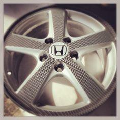 Carbon fiber hydro dipped Honda wheel by Voyles Performance