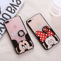 Cartoon Phone Case For iPhone 7 7 Plus 6 6s Plus Cute Mickey Minnie Mouse Ring Buckle Couples Phone Cover For iPhone 7 Cases