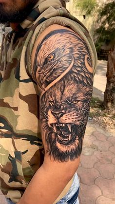 Lion Eagle tattoo by Aakash Chandani, Lion Chest Tattoo, Lion Shoulder Tattoo, Lion Forearm Tattoos, Lion Head Tattoos, Mens Lion Tattoo, Eagle Tattoos, Eagle Tattoo Arm, Shoulder Tattoos For Men, Lion Back Tattoo