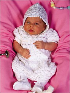 Baby's First Easter  So-sweet dress and bonnet are stitched with size 10 crochet cotton and sizes 7 and 0 steel hooks. Variations for sizes 3 to 12 months.   Skill Level: Experienced