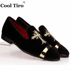 COOL TIRO Luxury Men Loafers Embroidery Black Velvet Slippers Slip-on Men's Flats Party Dress Shoes Design Gold buckle Loafers(China)